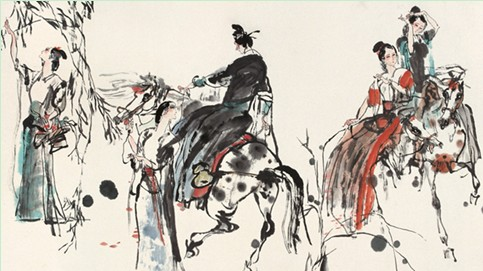 在此期间他虚心向贺友直等前辈学习,开始在中国画上汲取营养.